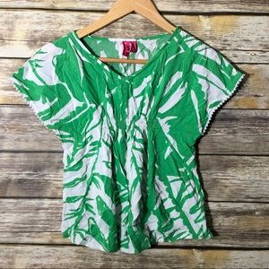 LILLY PULITZER Girls green white rayon top 7/8